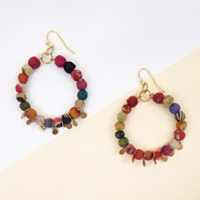 Recycled Kantha Textile Bead Hoops with Metal Discs Fair Trade Earrings