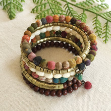 Recycled Kantha Bead and Mixed Media Fair Trade Coiled Wrap Bracelet