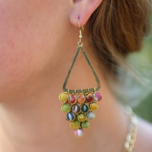 Recycled Kantha Triangle Chandelier Fair Trade Earrings