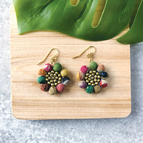 Recycled Kantha Textile Bead Sunflower Fair Trade Earrings