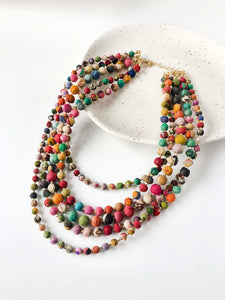 Intertwining Recycled Kantha Bead Fair Trade Necklace