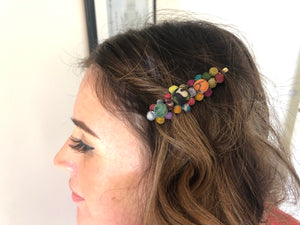 Recycled Kantha Textile Beads Cluster Fair Trade Hair Pin