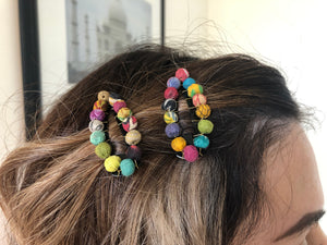 Recycled Kantha Textile Beads Fair Trade Hair Clips