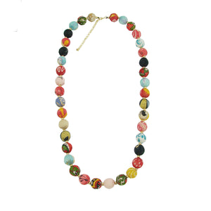 Recycled Textile Kantha Bead Long Garland Fair Trade Necklace