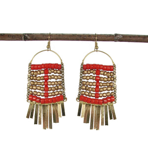 Beaded Abacus Orange and Gold Statement Fair Trade Earrings