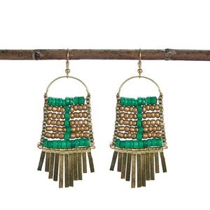 Beaded Abacus Teal and Gold Statement Fair Trade Earrings
