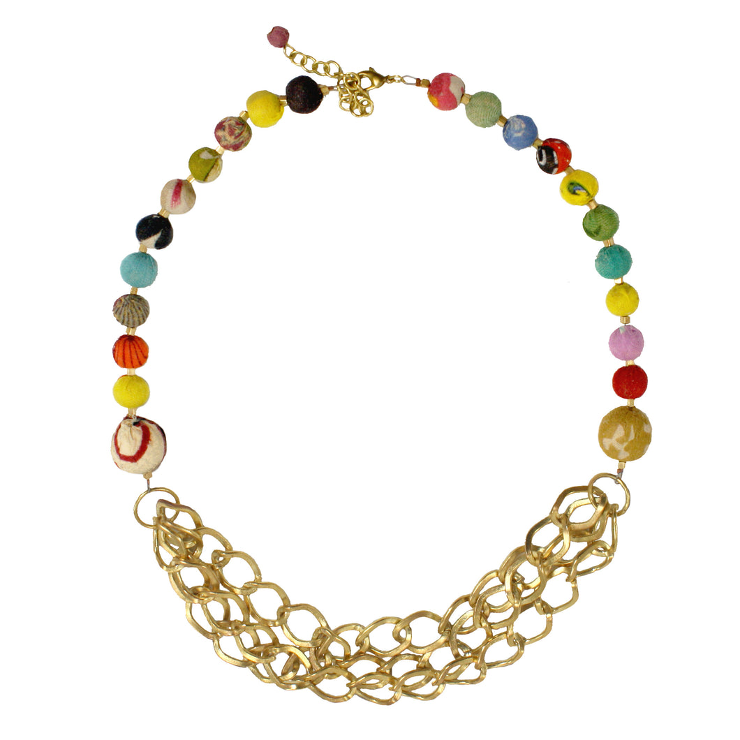 Fair Trade Brass Chains Recycled Kantha Textile Beads Necklace