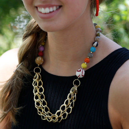Brass Chains Recycled Kantha Textile Beads Fair Trade Necklace