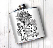Oso and Bean Alice in Wonderland Painting Roses Designer Art Hip Flask