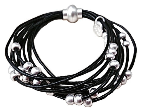 Black Leather with Silver Beads Multi Strand Bracelet