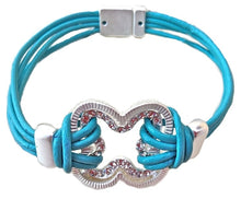 Turquoise Blue Leather Crystal Flower Multi Strand Bracelet