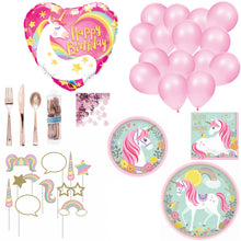 Unicorn Birthday Party Supplies for 8 - Plates Napkins Cups Photo Props Balloons Confetti Cutlery