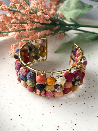 Recycled Kantha Textile Bead Fair Trade Triple Stacked Cuff Bracelet