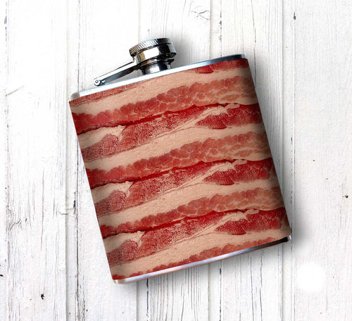 Oso and Bean Bacon Wrapped Designer Art Hip Flask