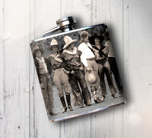 Oso and Bean Vintage Rodeo Cowgirls Designer Art Hip Flask