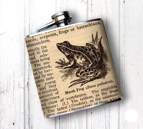 Oso and Bean Vintage Dictionary Frog Designer Art Hip Flask