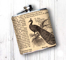 Oso and Bean Vintage Dictionary Peacock Designer Art Hip Flask