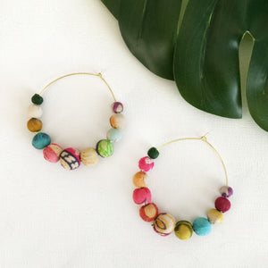 Recycled Kantha Textile Graduated Beads Endless Hoop Fair Trade Earrings