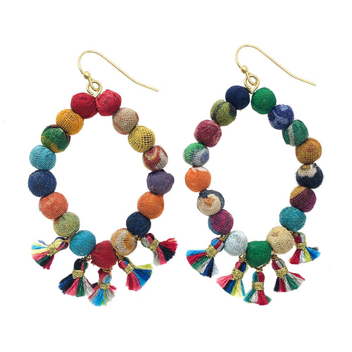 Recycled Kantha Textile Bead Fringed Diamond Hoop Fair Trade Earrings