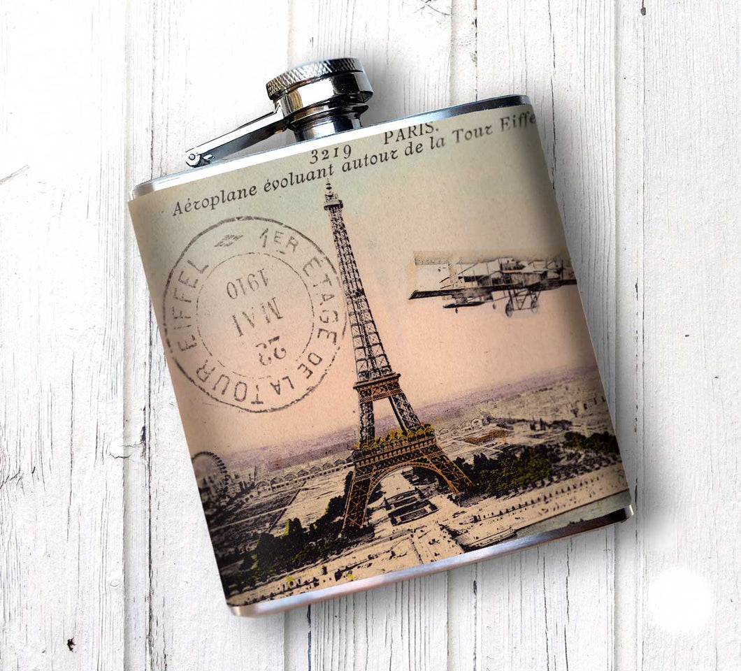 Oso and Bean Vintage Eiffel Tower Designer Art Hip Flask