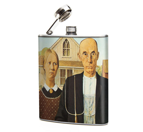Oso and Bean American Gothic Art Designer Hip Flask