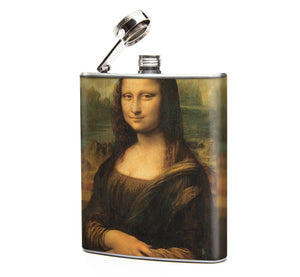 Oso and Bean Mona Lisa Art Designer Hip Flask