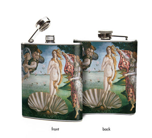 Oso and Bean Birth of Venus Designer Art Hip Flask