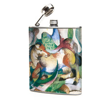 Oso and Bean Franz Marc Jumping Horse Painting Designer Art Hip Flask