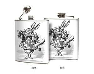 Oso and Bean Alice in Wonderland White Rabbit in Hearts Designer Art Hip Flask
