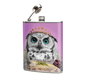Oso and Bean Owl Queen Graphic Designer Art Hip Flask