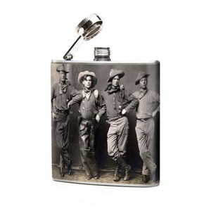 Oso and Bean Vintage Cowboys Designer Art Hip Flask