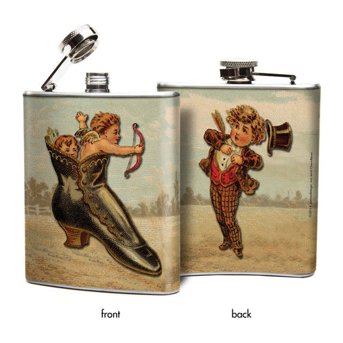 Oso and Bean Valentine Cupid Strikes Designer Art Hip Flask