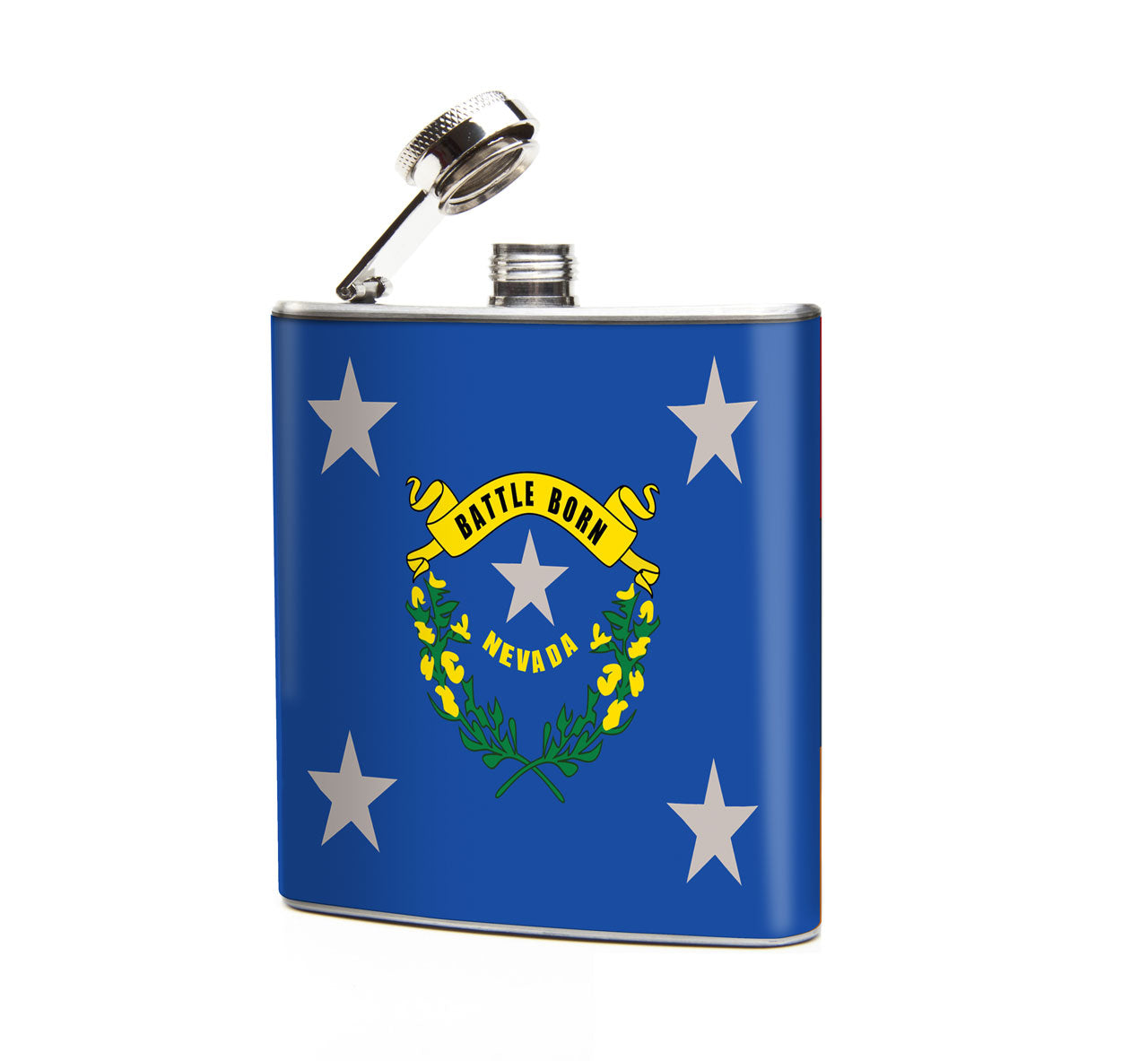 Oso and Bean Nevada State Flag Designer Art Hip Flask – Bombay Bongo