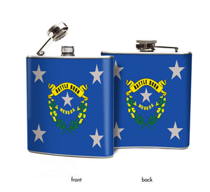 Oso and Bean Nevada State Flag Designer Art Hip Flask