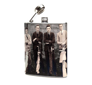 Oso and Bean Vintage 1930s Men Golfers Designer Art Hip Flask
