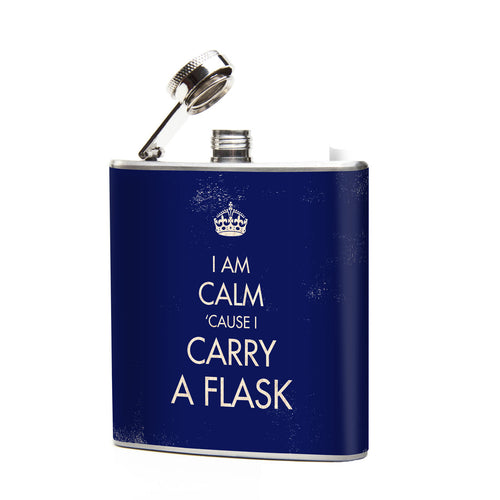 Oso and Bean I Am Calm Designer Art Hip Flask