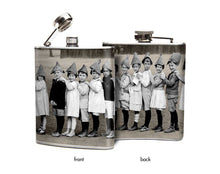 Oso and Bean Vintage Kindergarten Class Picture Designer Art Hip Flask