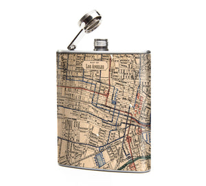 Oso and Bean Vintage Los Angeles Map Designer Art Hip Flask