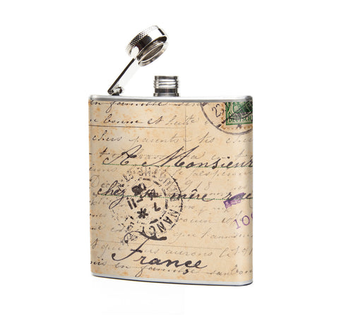 Oso and Bean Vintage French Postcard Designer Art Hip Flask