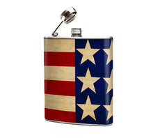 Oso and Bean Stars and Stripes Designer Art Hip Flask
