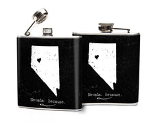 Oso and Bean Nevada Because Designer Art Hip Flask