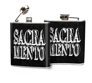 Oso and Bean Sacramento Designer Art Hip Flask