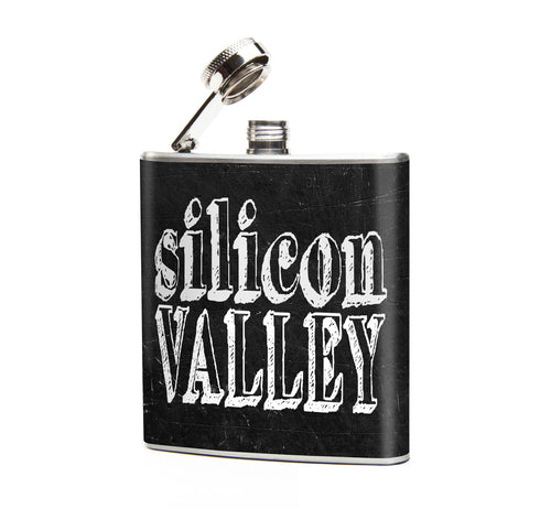 Oso and Bean Silicon Valley Designer Art Hip Flask
