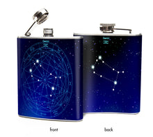 Oso and Bean Gemini Zodiac Sign Designer Art Hip Flask