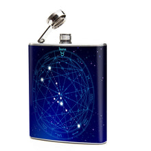 Oso and Bean Taurus Zodiac Sign Designer Art Hip Flask