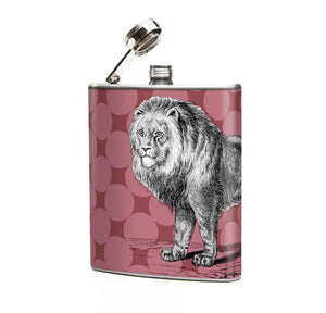 Oso and Bean Lion Designer Art Hip Flask