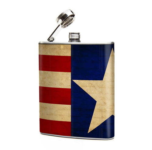 Oso and Bean US Flag Designer Art Hip Flask