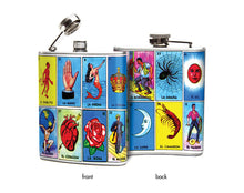 Oso and Bean Mexican Loteria Cards Designer Art Hip Flask