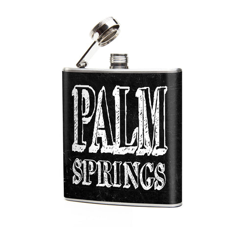 Oso and Bean Palm Springs Designer Art Hip Flask