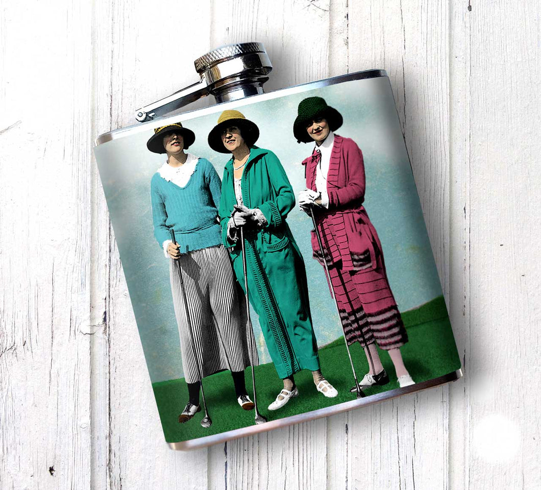 Oso and Bean Vintage 1930s Women Golfers Designer Art Hip Flask